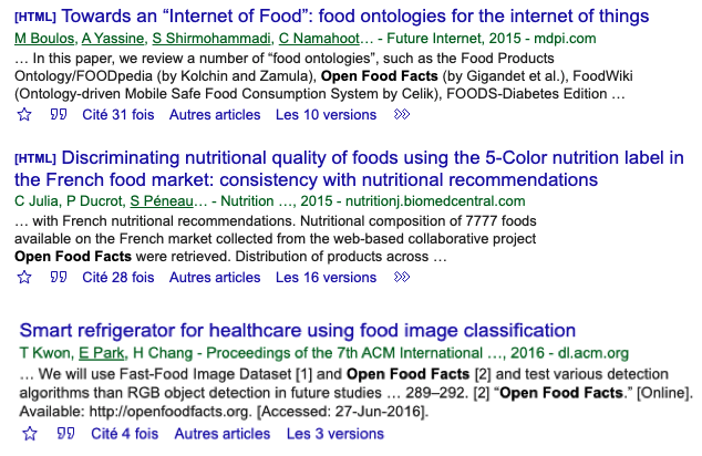 Some of the many scientific papers made possible by Open Food Facts