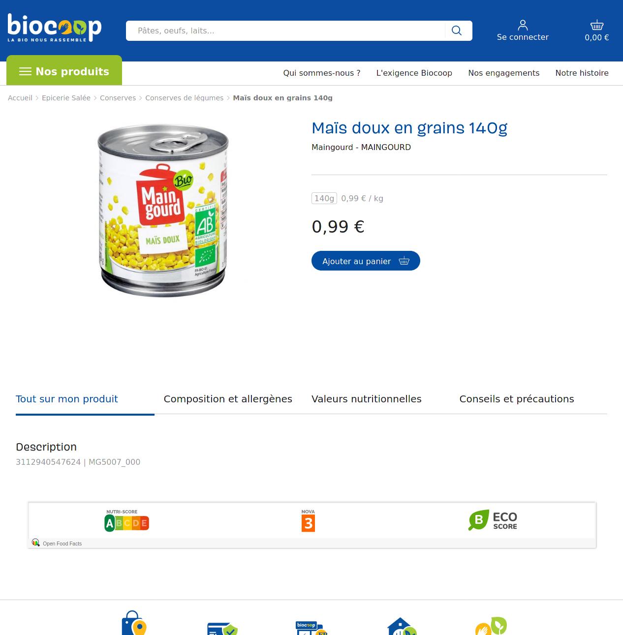 Exemple sur le drive Biocoop