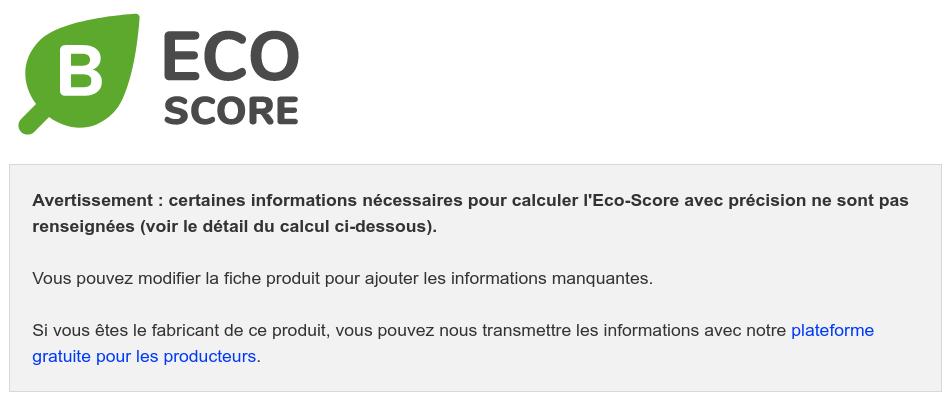 Tout le monde peut compléter les informations pour calculer l'Eco-Score
