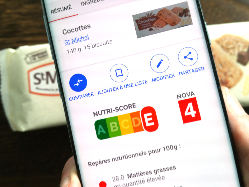 NutriScore sull'app mobile Open Food Facts