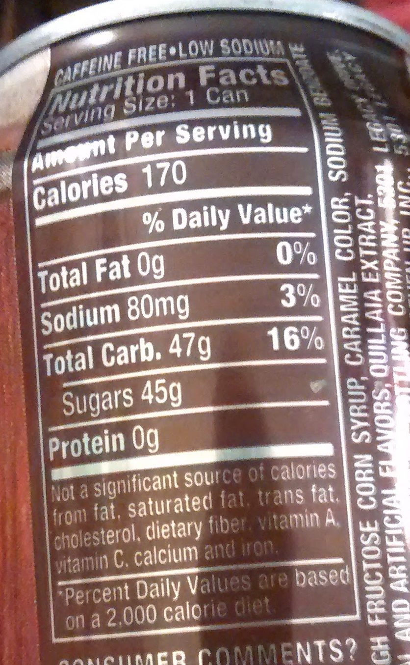 Root Beer - Nutrition facts