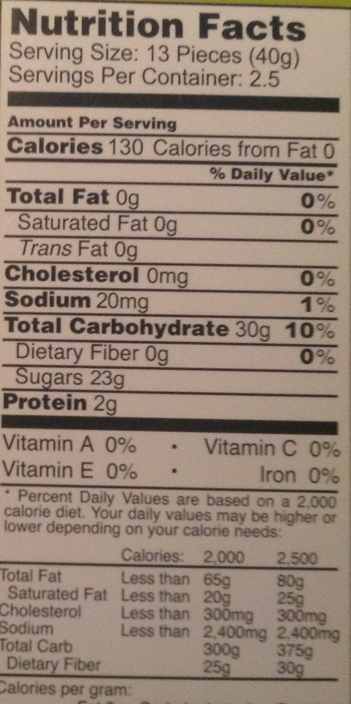 Sour Fruit Gummies - Nutrition facts - en