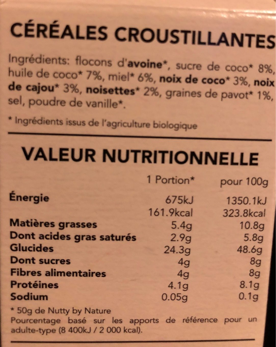 Granola Nutty by nature - Voedingswaarden