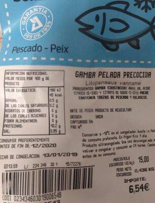 Gamba pelada precocida - Nutrition facts