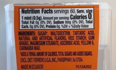 Mints, Orange - Nutrition facts