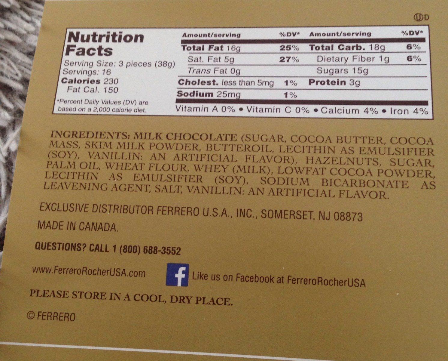 Ferrero Rocher Fine Hazelnut Chocolates 21.2 Oz. Pack - Ingredients