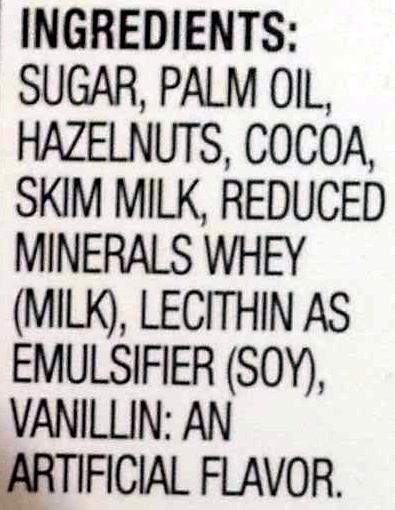 Ferrero, nutella, hazelnut spread with cocoa mini cups - Ingredients - en