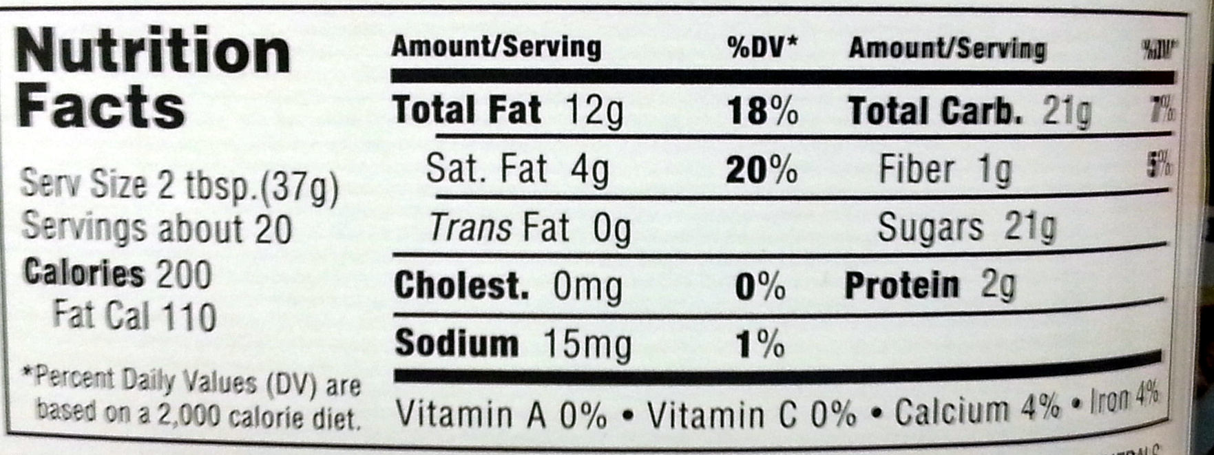 Nutella - Nutrition facts