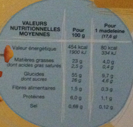 Madeleines nature - Nutrition facts - fr