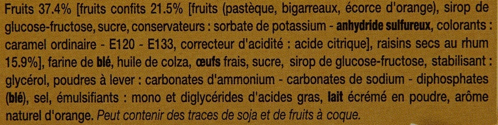 Cakes aux Fruits - Ingredients