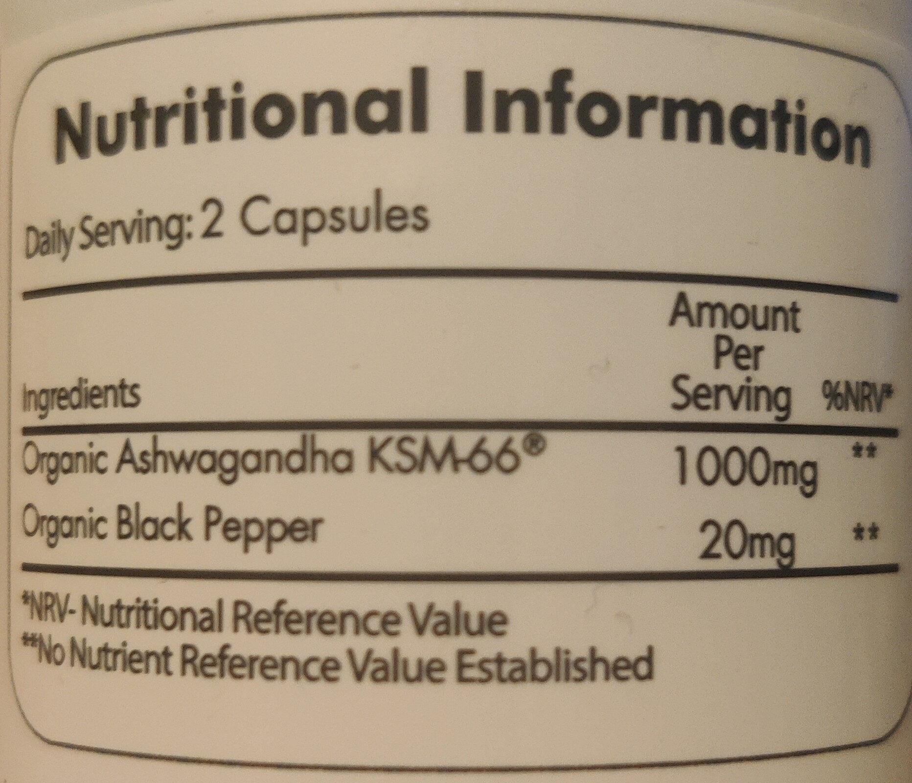 Organic Ashwagandha KSM-66 - Informations nutritionnelles - es