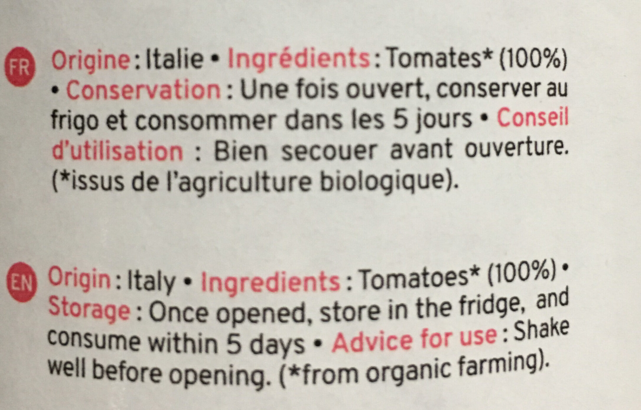 Organic tomato pulp - Ingredients