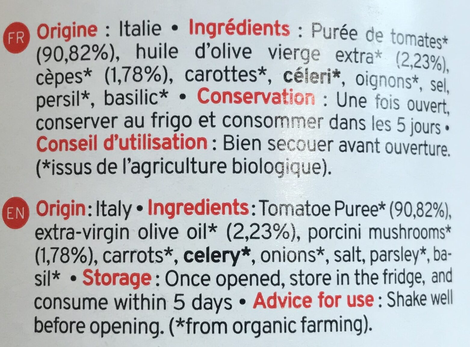 Sauce Tomate Aux Champignons Bio Kazidomi - Ingrédients - fr