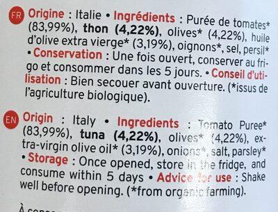 Sauce Tomate Au Thon & Olives Bio Kazidomi - Ingrédients - fr