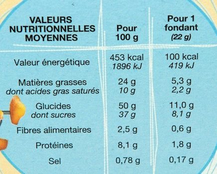 Fondants Citron - Voedingswaarden - fr