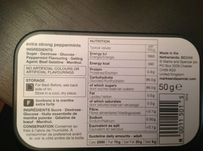 Curiously Strong Mints - Ingredients - en