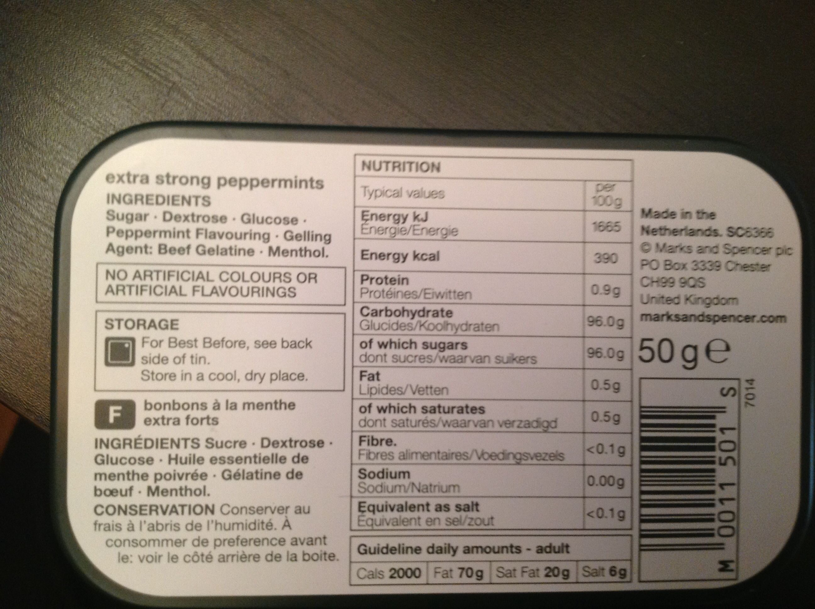 Curiously Strong Mints - Nutrition facts - en