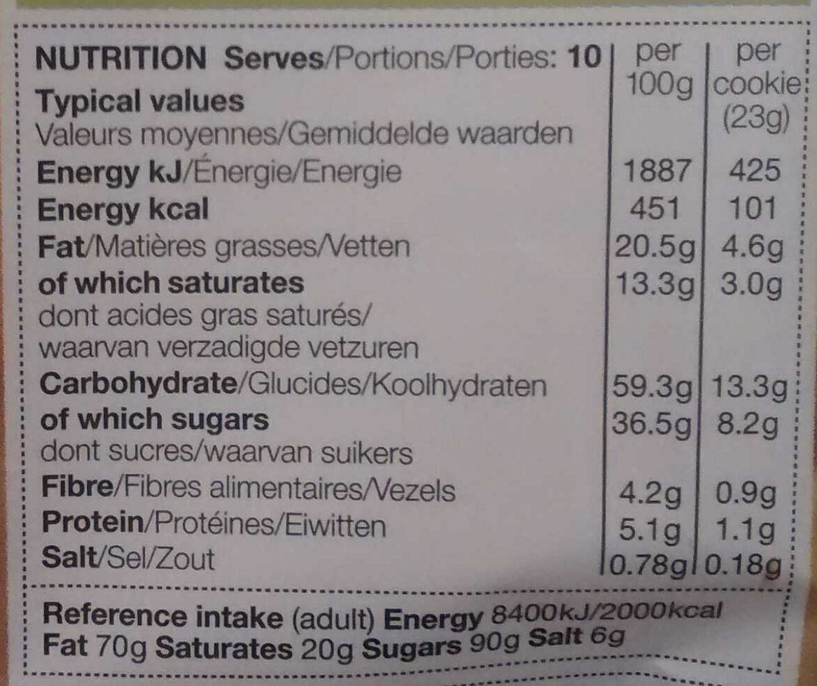 All Butter Fruity Flapjack Cookies - Nutrition facts