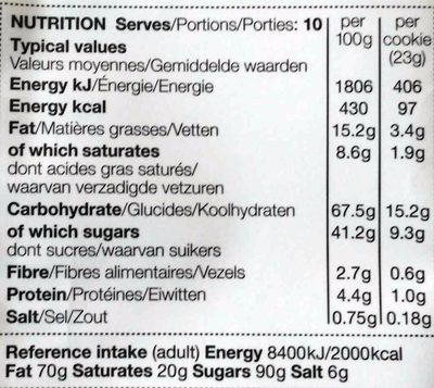 All butter Cranberry & Orange Cookies - Nutrition facts