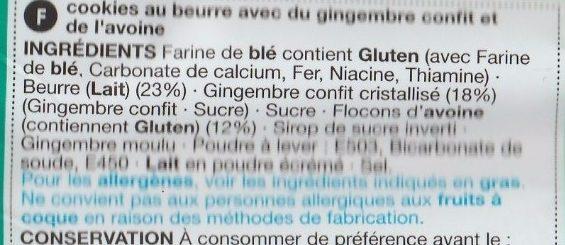Cookies Stem Ginger - Ingredients - fr