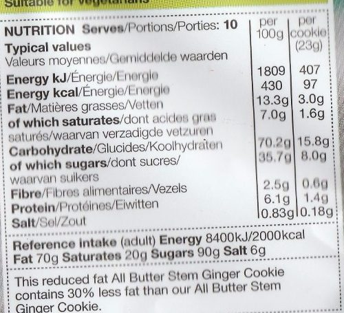 Stem Ginger Cookies - Nutrition facts - fr