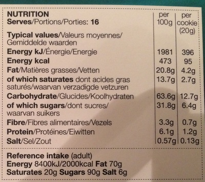 Stem Ginger Dunkers - Nutrition facts