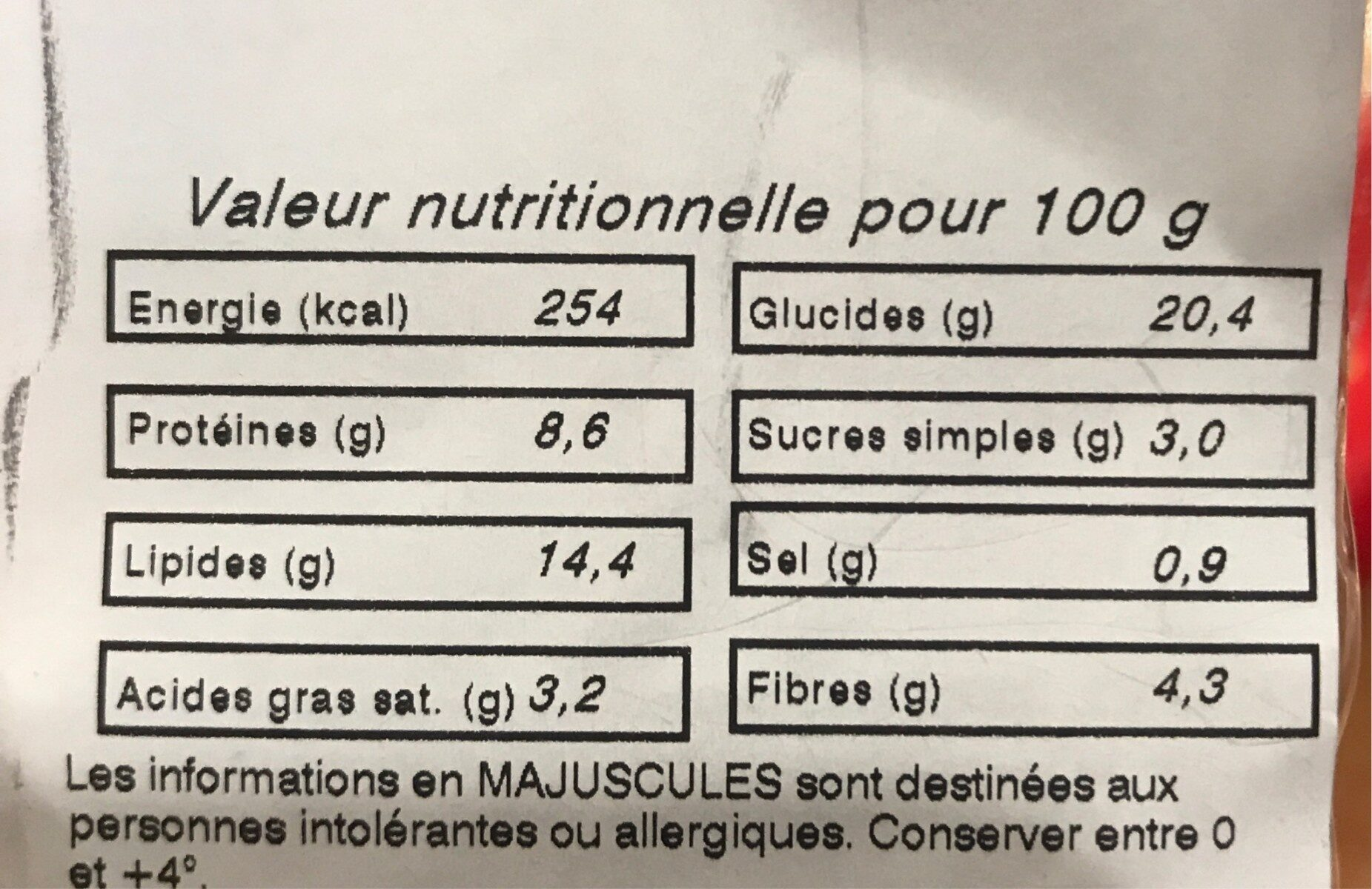 Club Crudités - Informations nutritionnelles - fr
