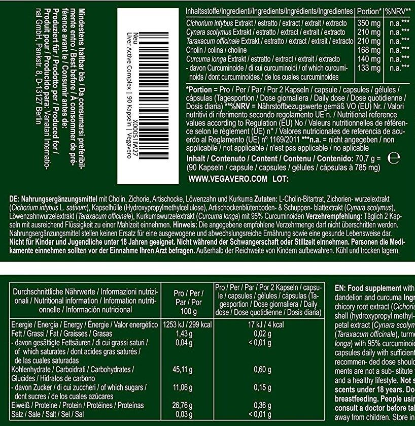 Vegavero Liver Active Complex - Nutrition facts