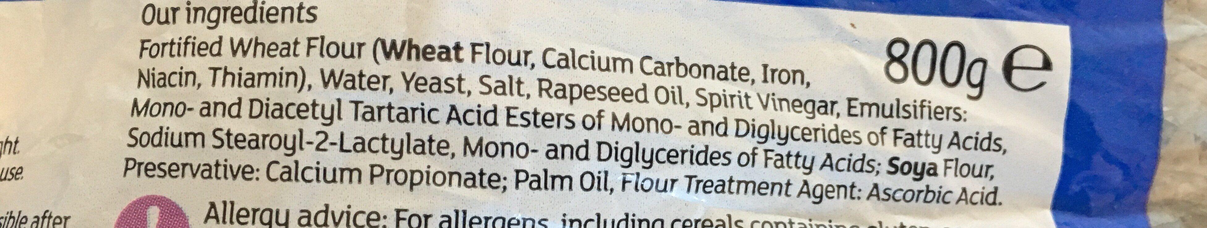 Sliced white bread - Ingredients
