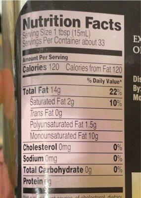 Extra virgin Olvie oil - Informations nutritionnelles - en