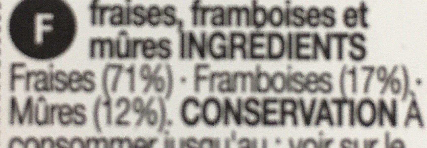 Fraises, framboises & mûres - Ingrediënten