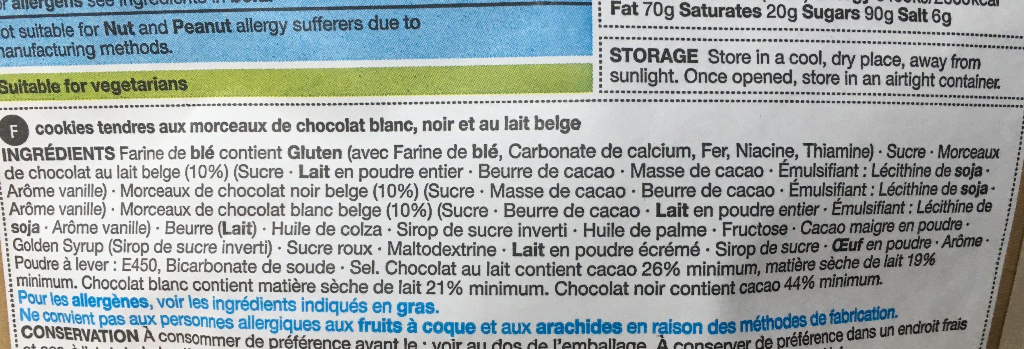 Giant cookies triple belgian chocolate - Ingredients