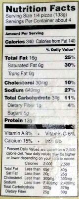 Pizza Parlanno - Nutrition facts