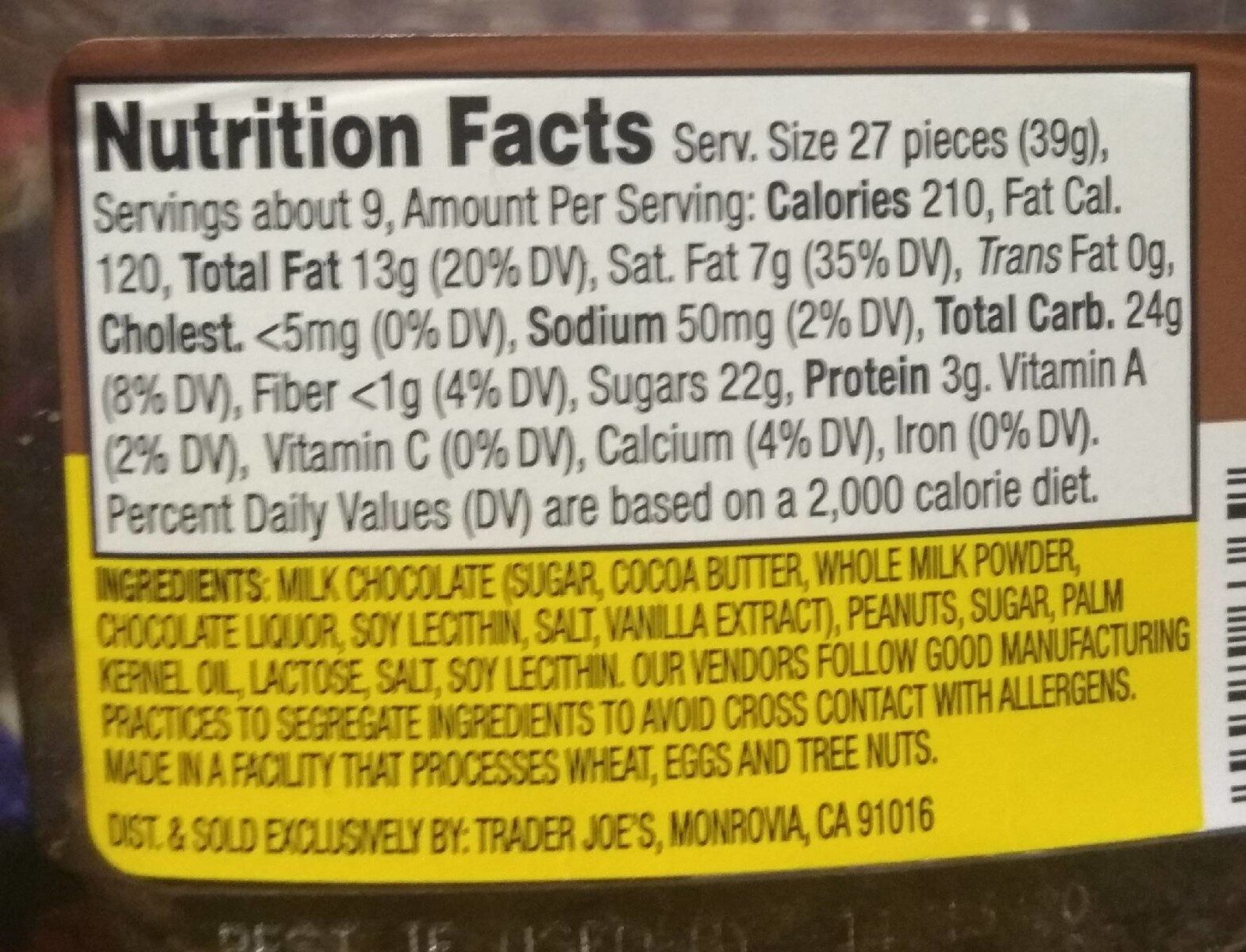 Mini milk chocolate peanut butter cups - Nutrition facts