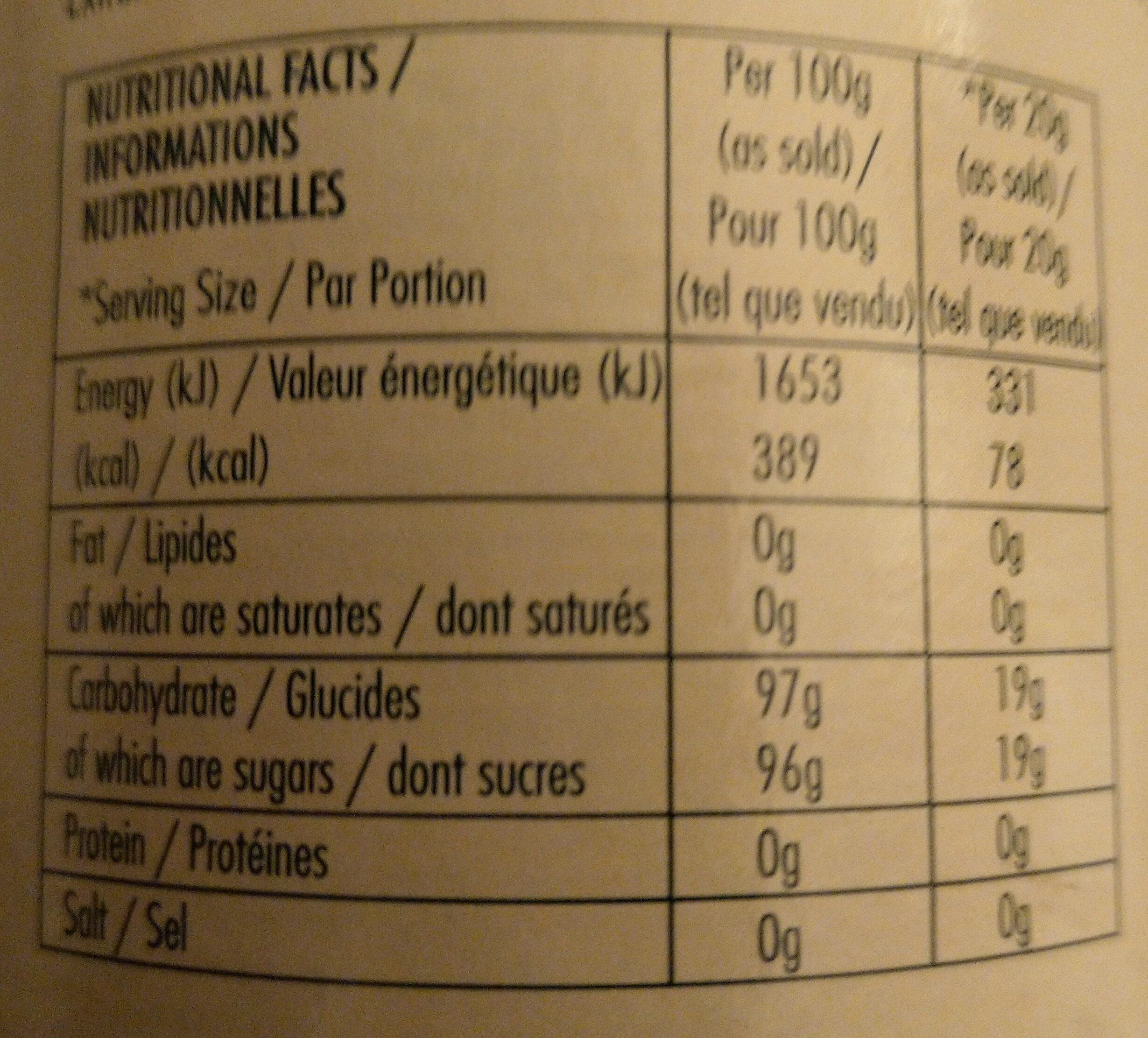 dreamtime - Nutrition facts