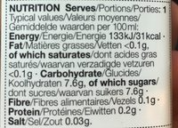 Iced Tea Spanish Peach - Informations nutritionnelles