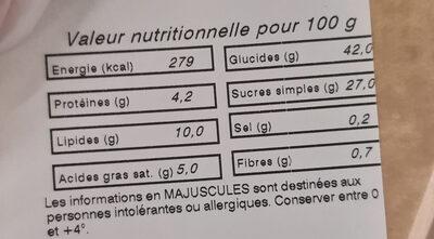Tarte citron meringuée - Voedingswaarden - fr