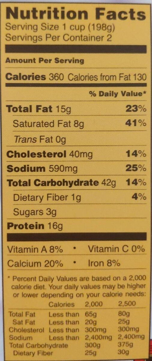 Joe's Diner Mac 'n Cheese - Nutrition facts - en