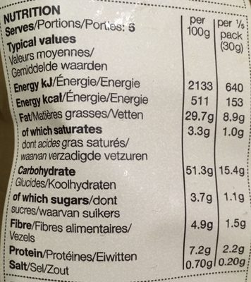 Winter Berries & Prosecco Hand cooked crisps - Nutrition facts
