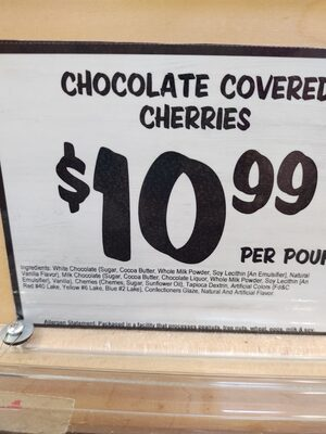 chocolate covered cherries - Ingredients