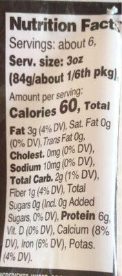 Organic tofu - Valori nutrizionali - en