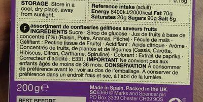 M&S fruit jellies - Ingrediënten