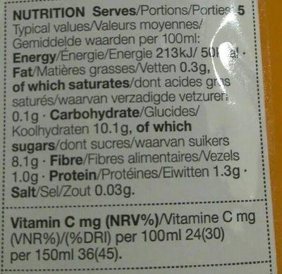 Smoothie Orange, Carrot & Mango - Informations nutritionnelles