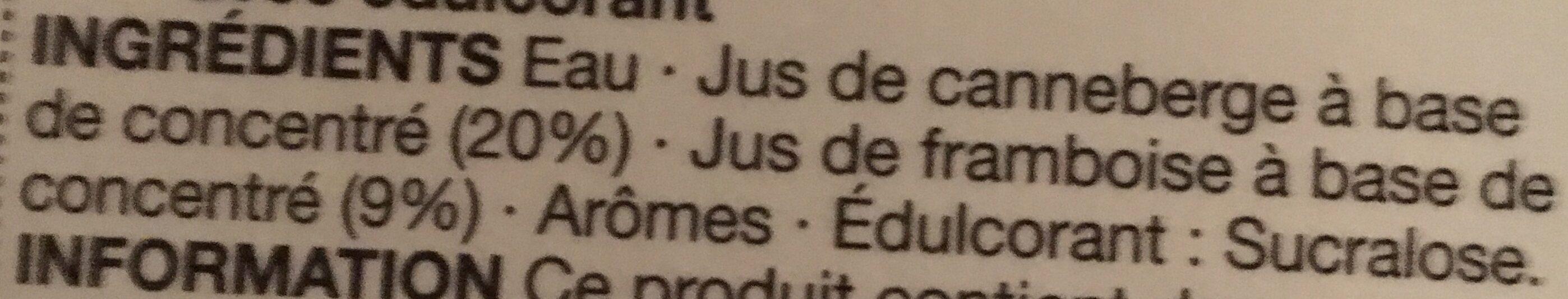 CRANBERRY & RASPERRY JUICE DRINK - Ingrédients - fr