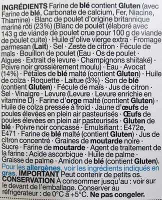 Sandwich Poulet Rôti & Avocat - Ingrédients