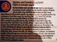 Mackerel filets in tomato sauce - Informations nutritionnelles - en