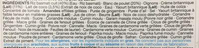 Poulet Korma & Riz Pilaf - Ingredients - fr