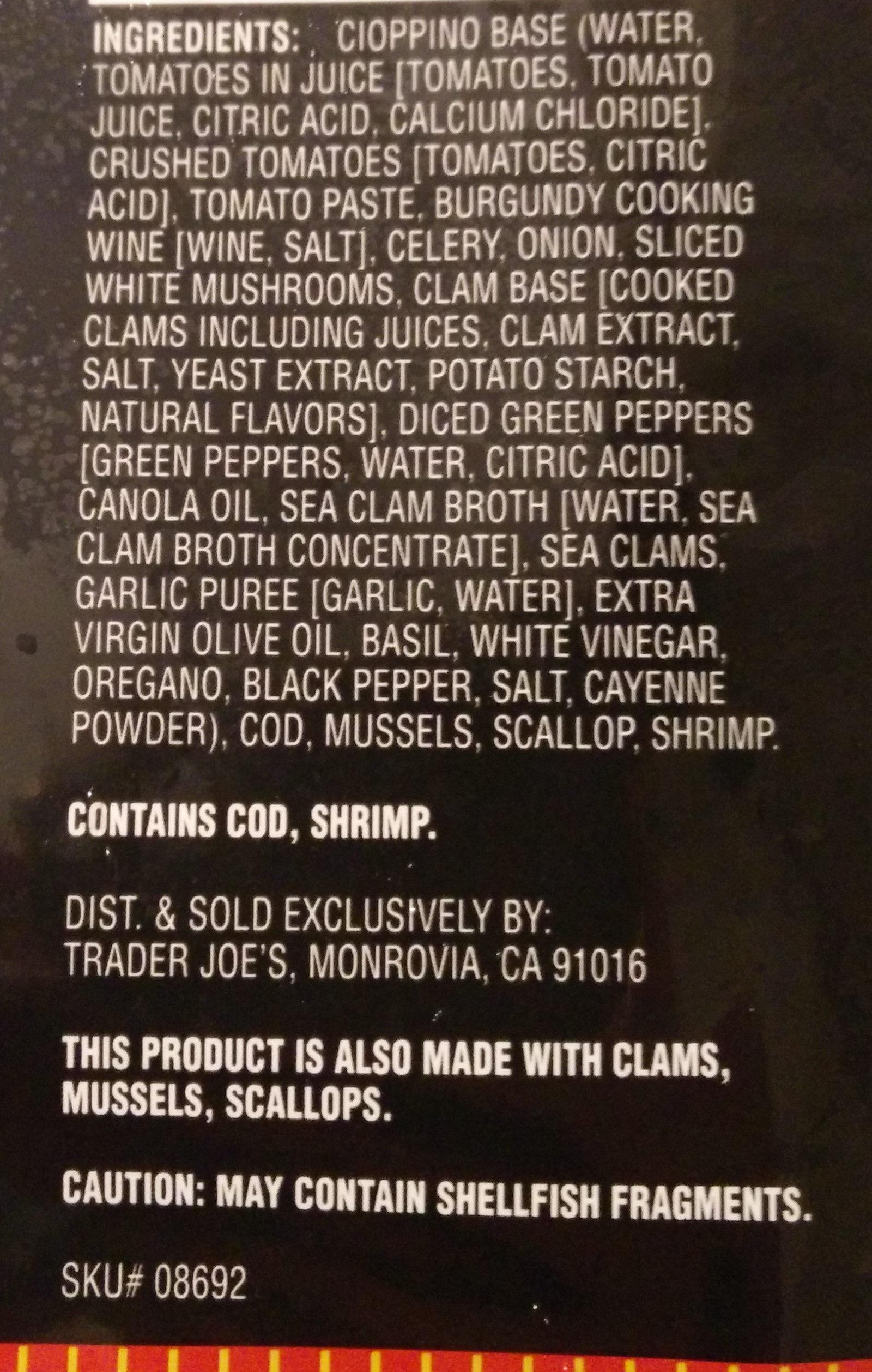 Cioppino Seafood Stew - Ingrediënten