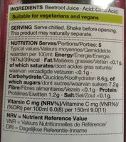 Beetroot juice - Nutrition facts - fr