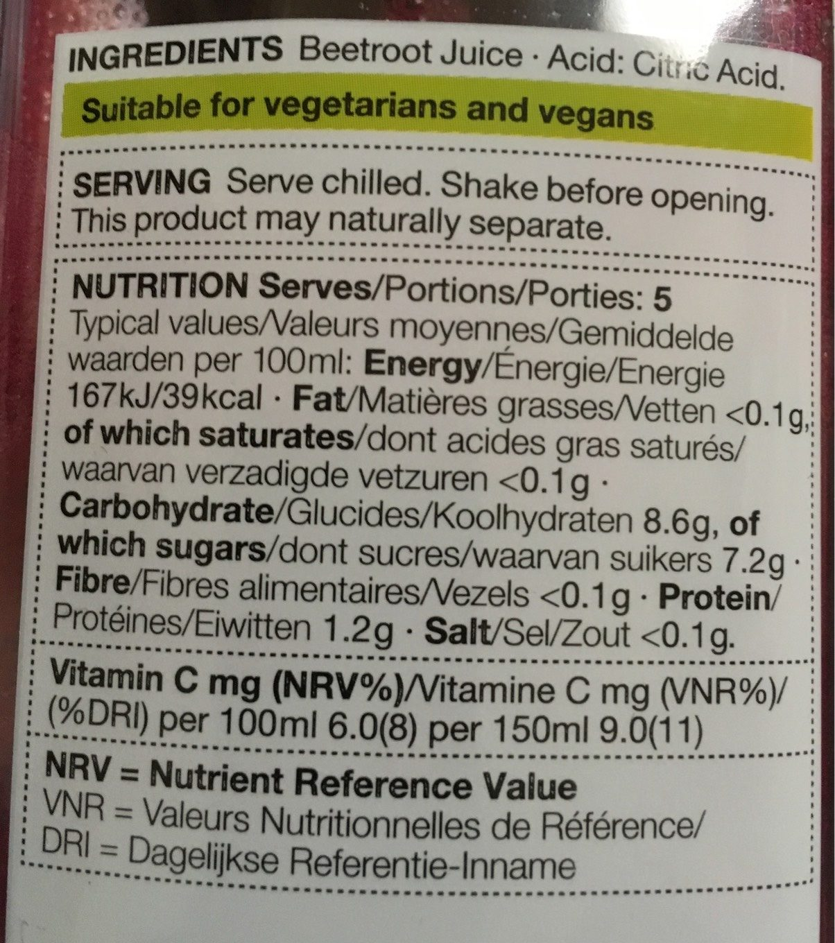 Beetroot juice - Nutrition facts